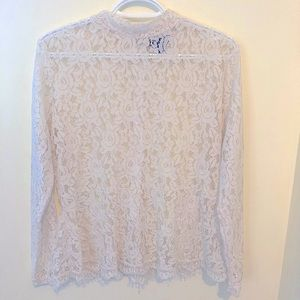 Vintage high neck all over lace long sleeve peplum